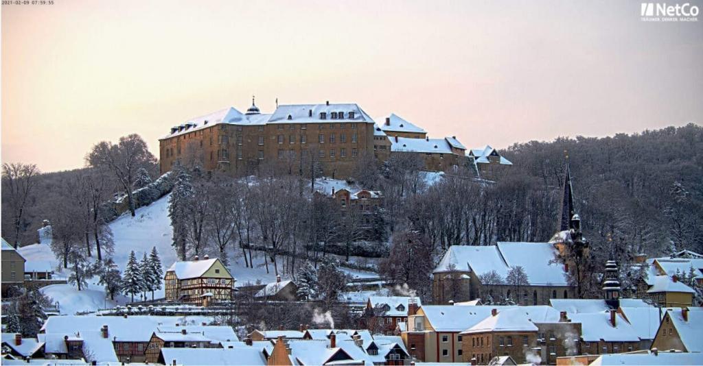 Baustellenkamera-Aufnahme von Blankenburg (Harz) im Schnee