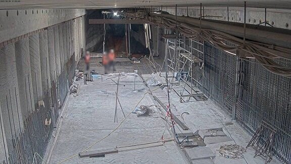 Baustellenkamera-Aufnahmen Tunnelbau