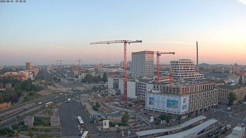 Universelle Zeitraffer-Aufnahme einer Baustellenkamera von einem Bürohochhaus am Europaplatz von Baustellenkameras